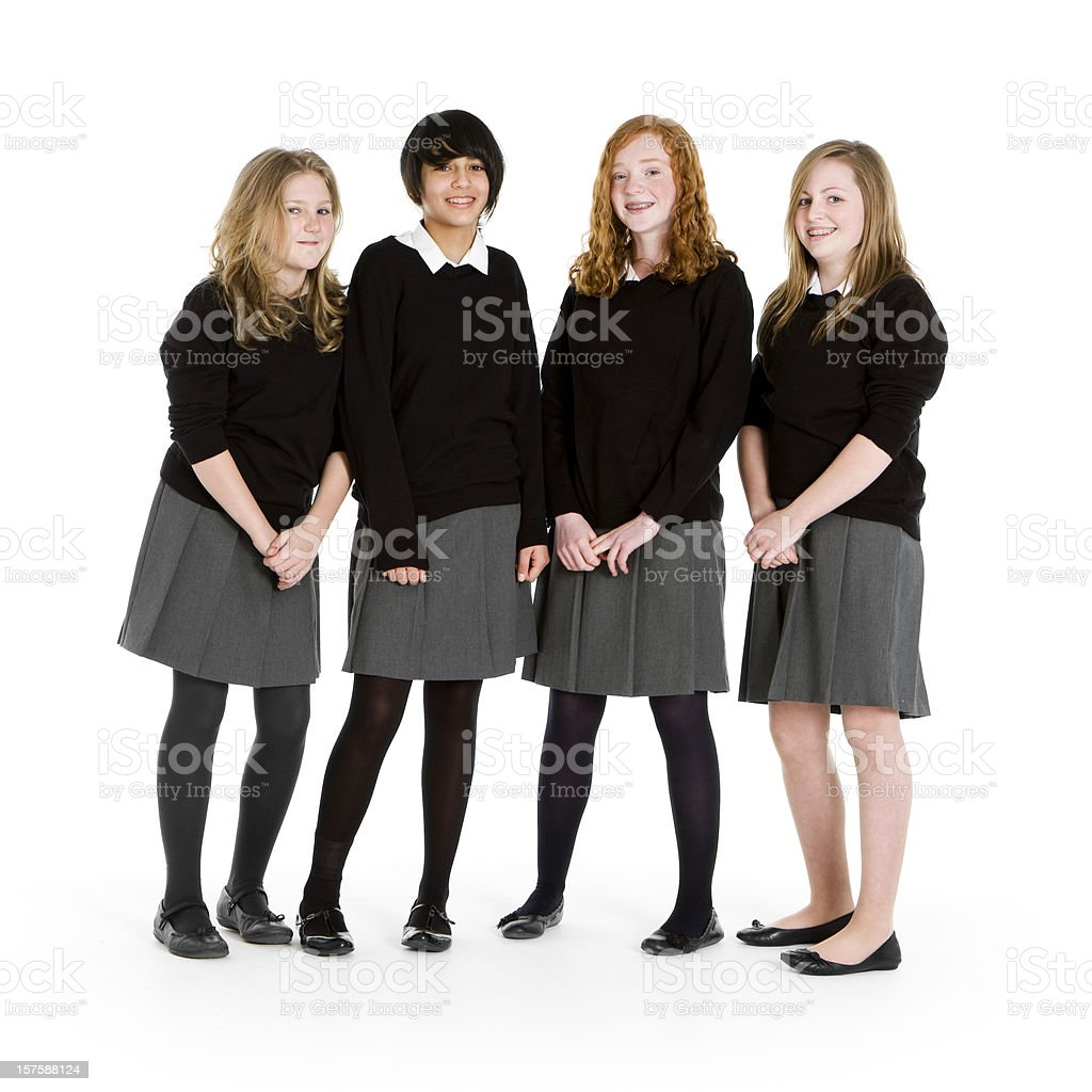 early teen students: girl friends royalty-free stock photo