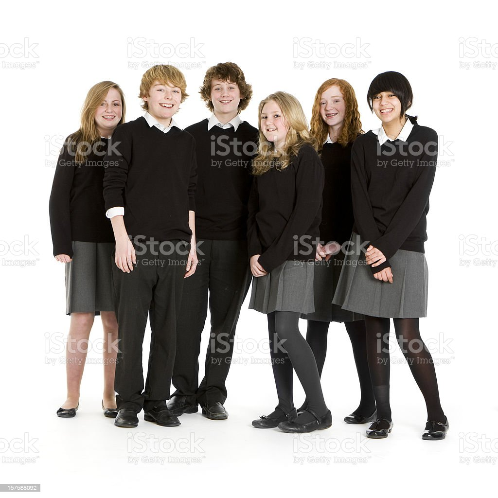 Early teen students taking a group picture royalty-free stock photo
