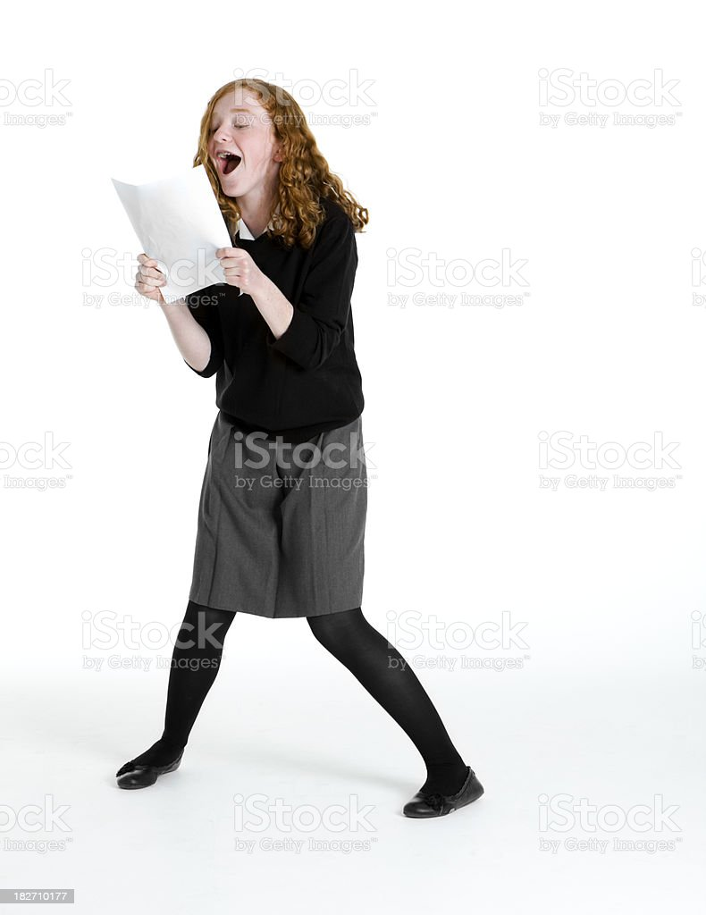 early teen students: top marks royalty-free stock photo