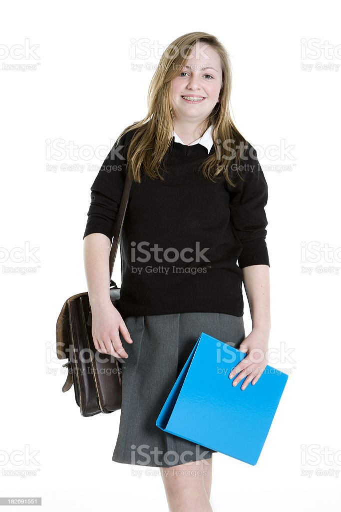 early teen students: walking to school royalty-free stock photo