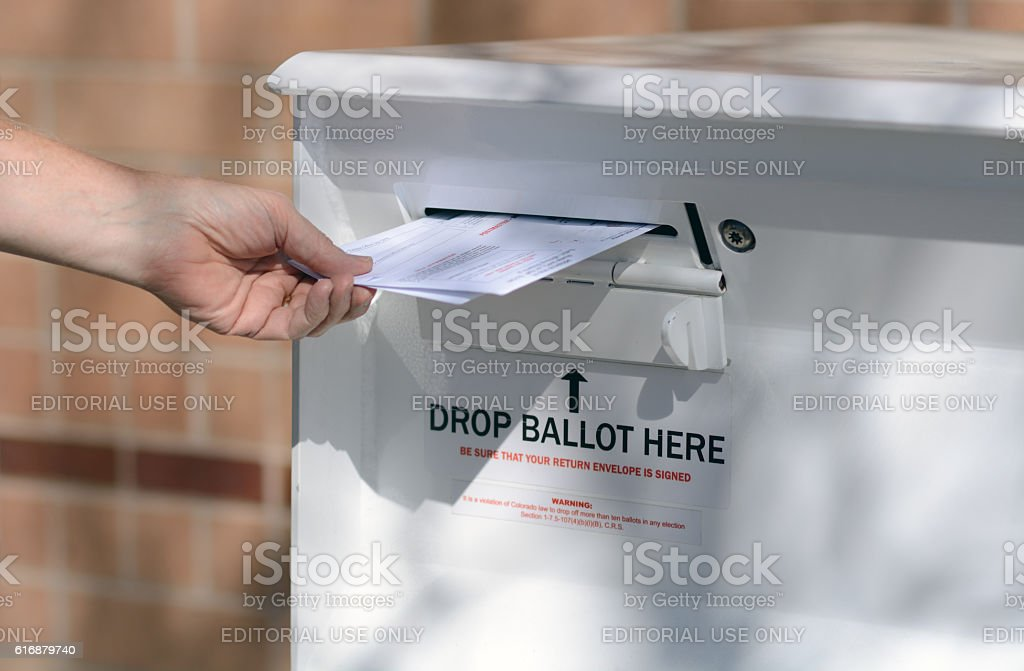 Early Voting Mail in Ballot Drop off stock photo