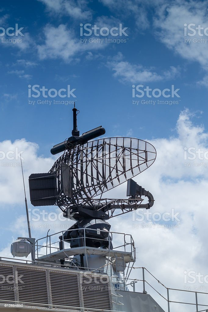 early warning radar mounted on gray frigate stock photo