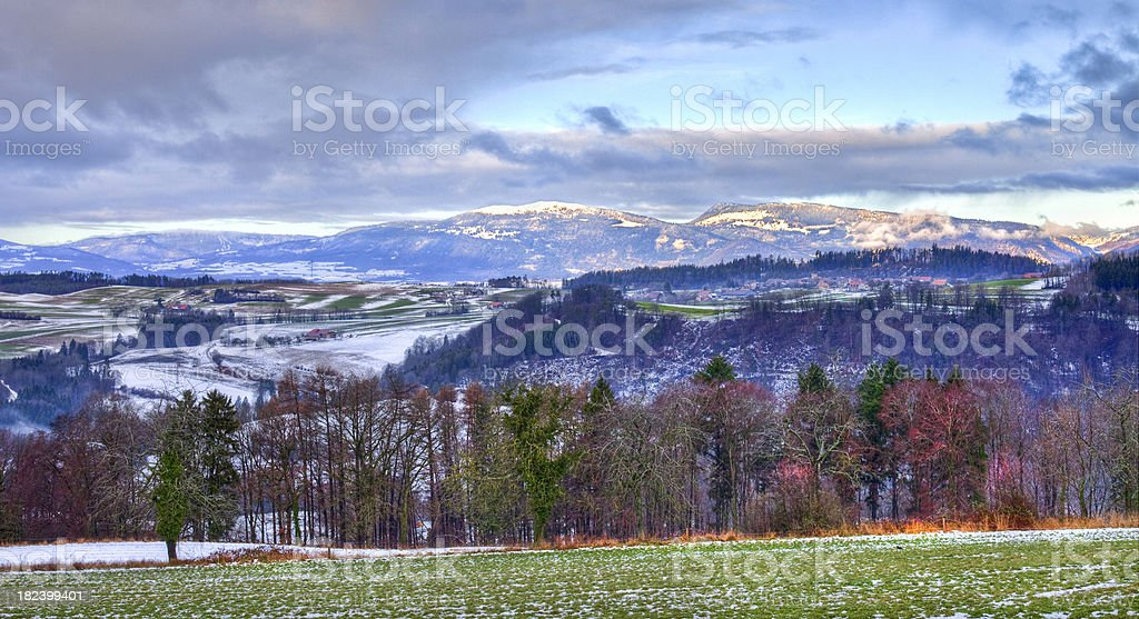 Early Winter Landscape Jura Mountains, Vaud Switzerland HDR Image stock photo