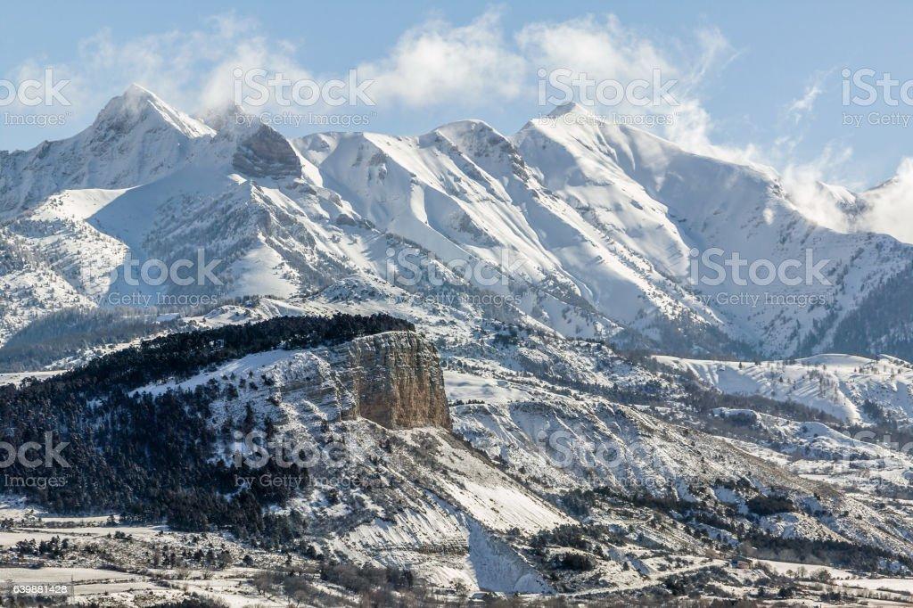 Early Winter morning on Chapeau de Napoleon mountain, Alps, France stock photo