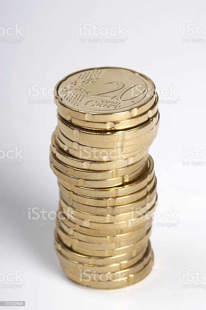 Earnings - 20 euro cent coins stock photo