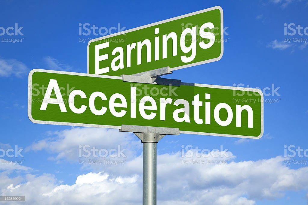 Earnings Acceleration Street Sign royalty-free stock photo