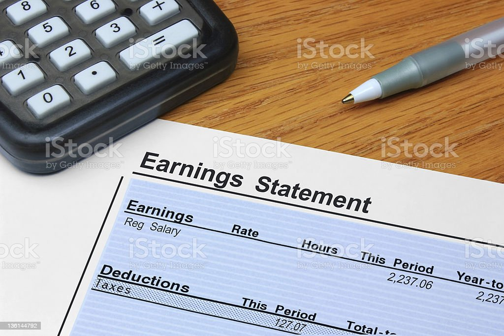 Earnings Statement stock photo
