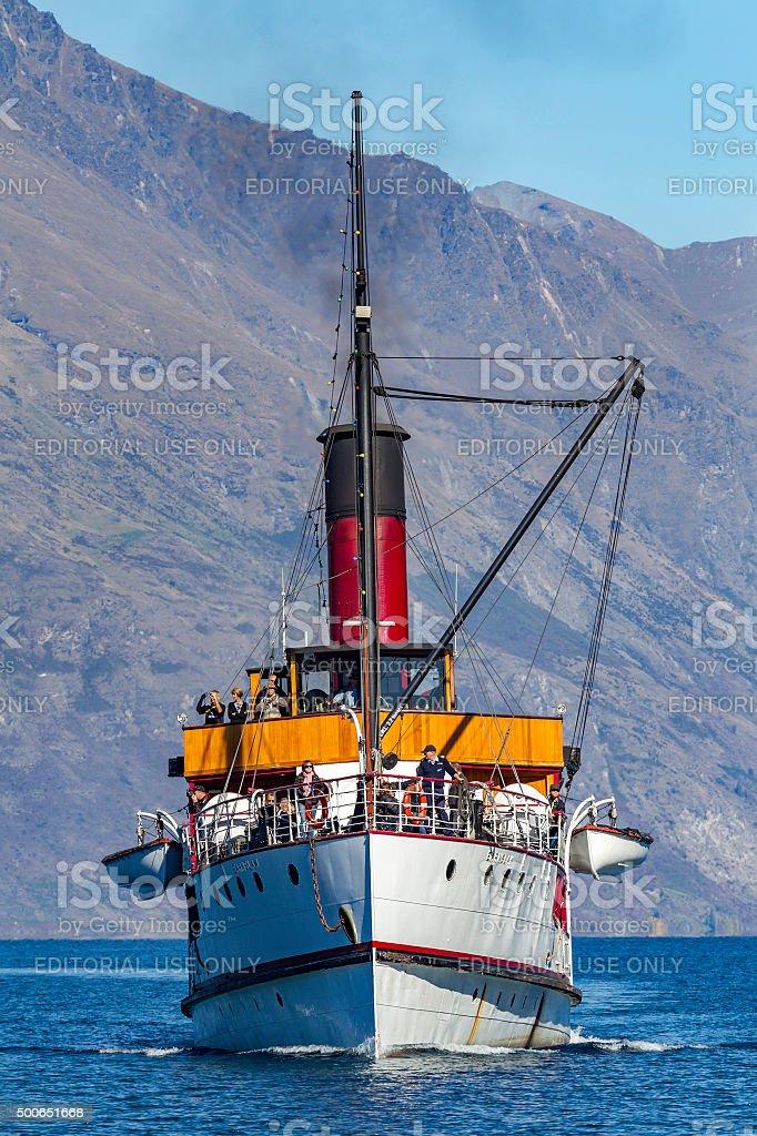 TSS Earnslaw steam ship on lake Wakatipu stock photo