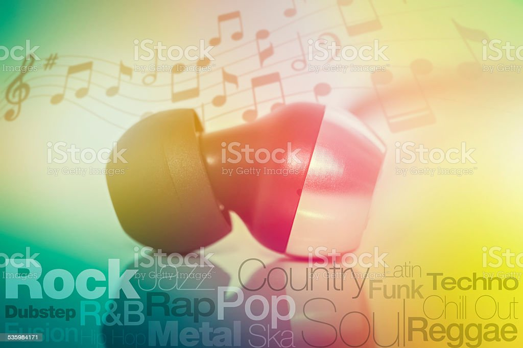 earphone, music genres with typography and notes stock photo