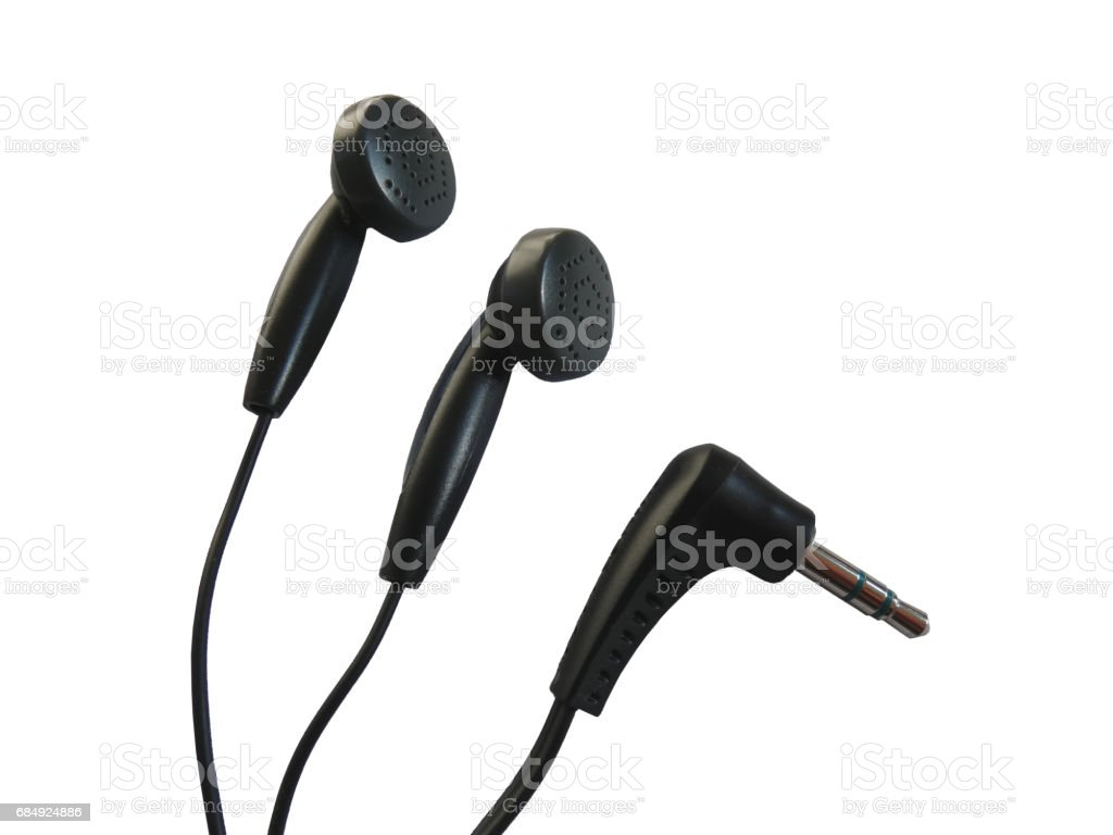 Earphones and Mini Jack Plug (Phone Connector) stock photo