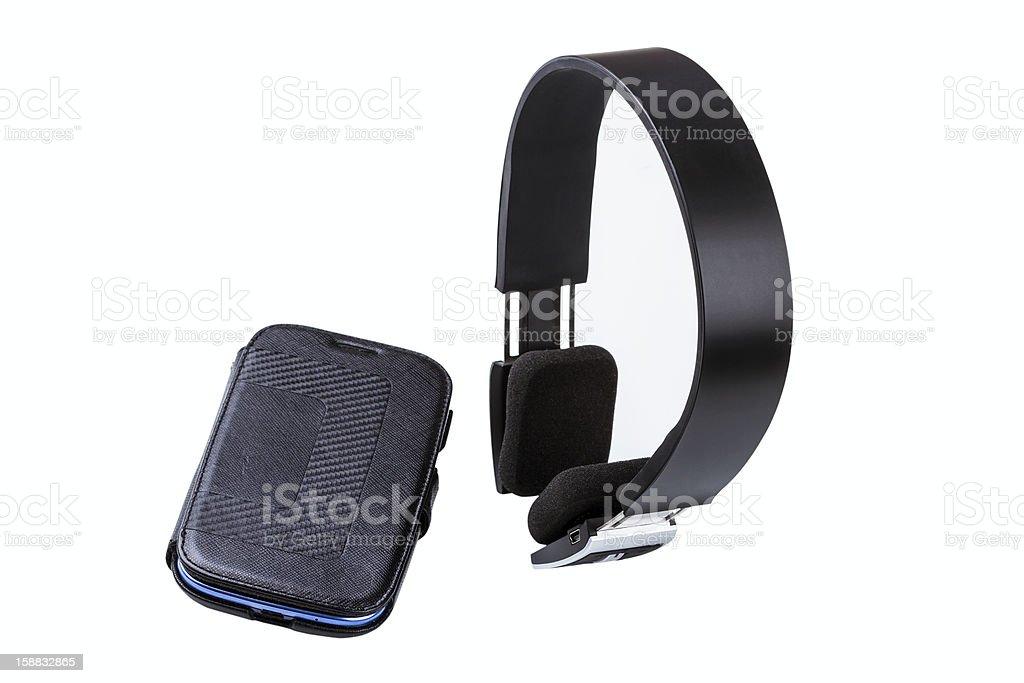earphones and smartphone royalty-free stock photo