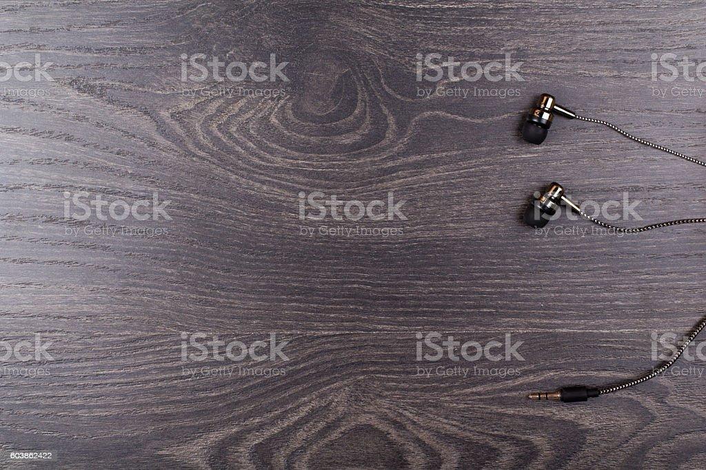 Earphones black on stock photo