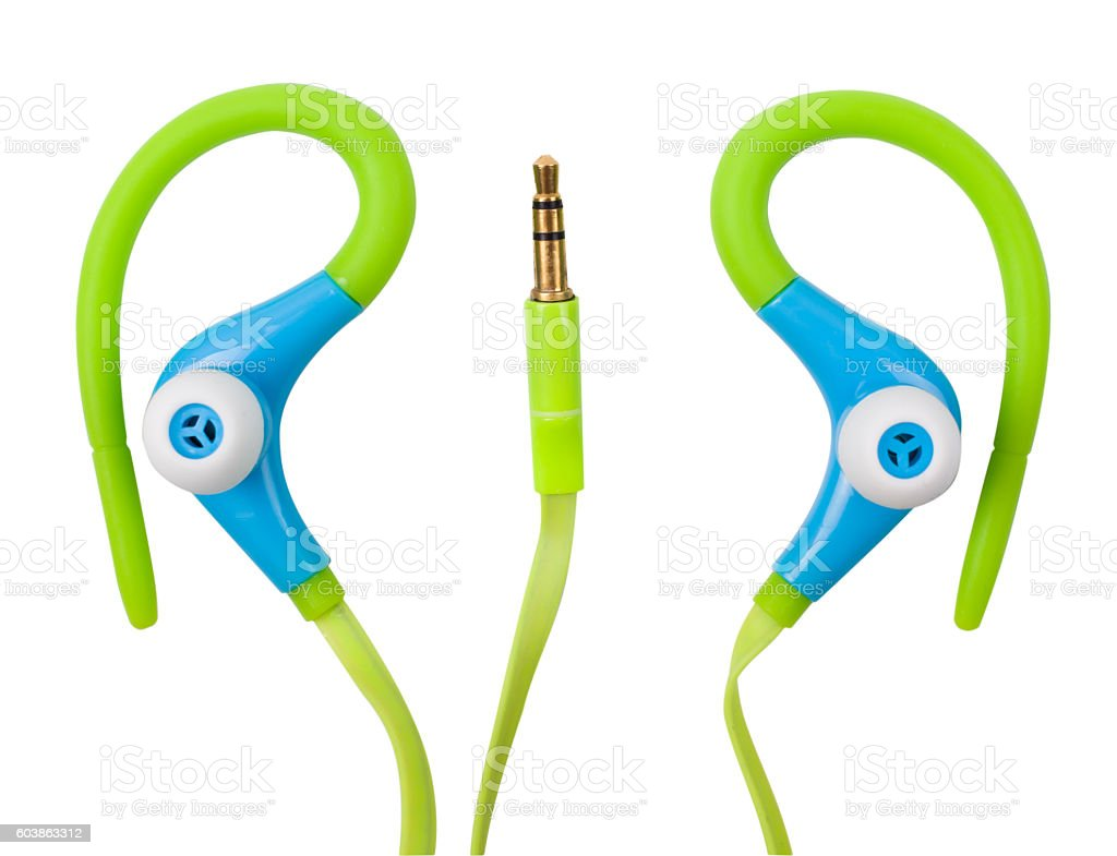 Earphones for sport stock photo