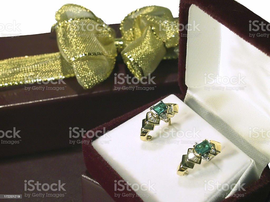 Earrings & GiftBox royalty-free stock photo
