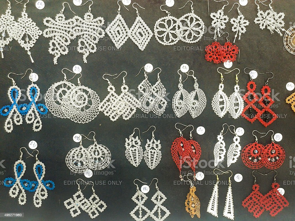 Earrings made of lace stock photo