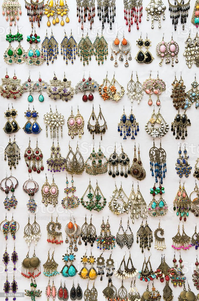 Earrings, Street Market, Bangkok stock photo