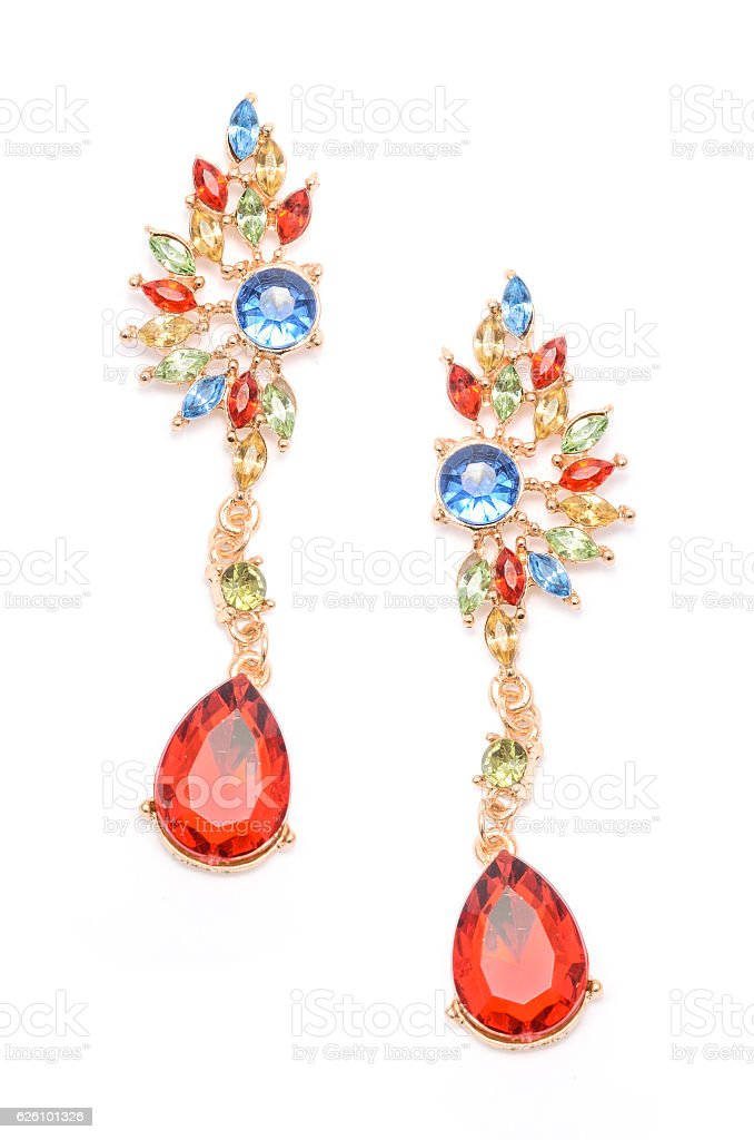 Earrings with colored stones isolated on white stock photo