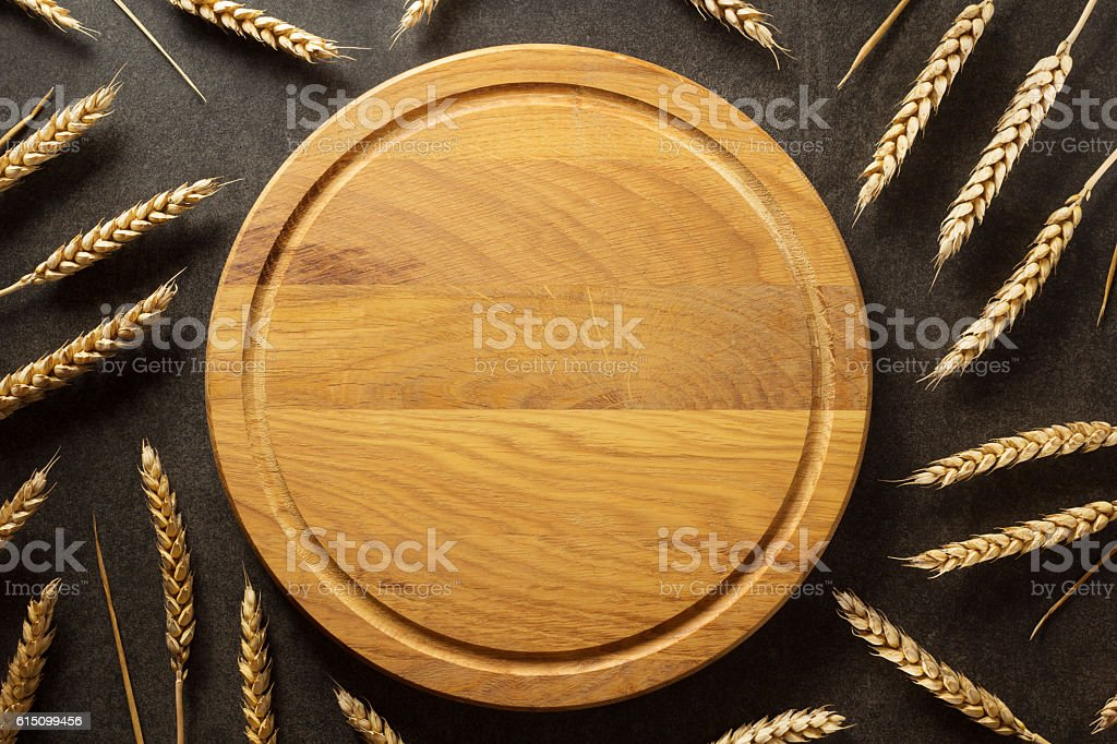 ears of wheat on  black background stock photo