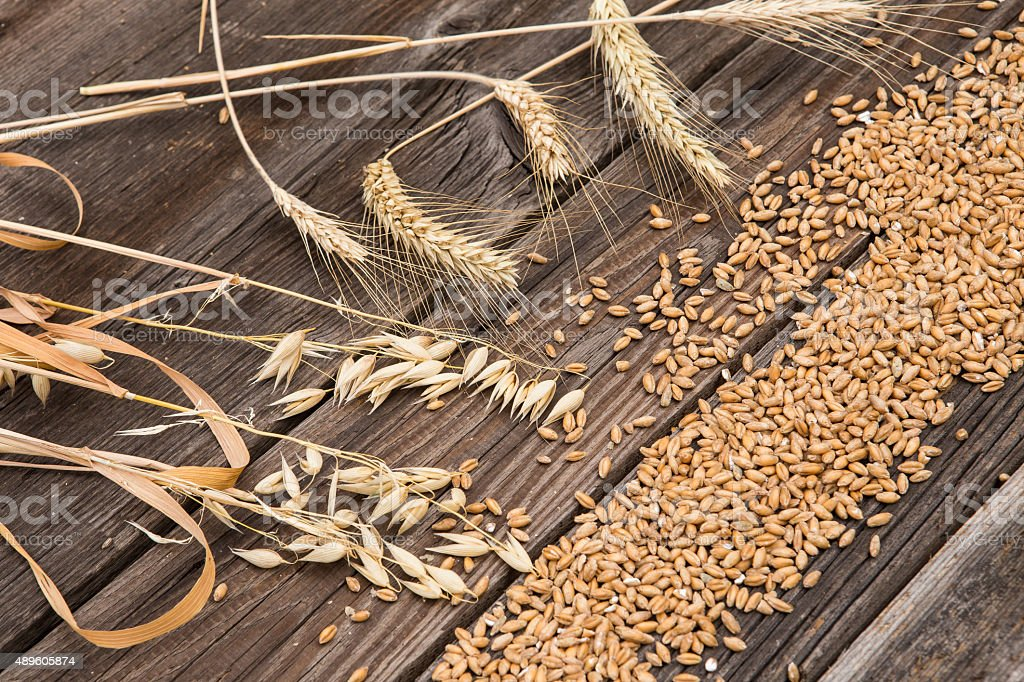 Ears of wheat on old wooden table stock photo