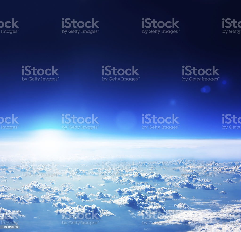 Earth Aerial View. Dark Blue Sky and Clouds. royalty-free stock photo