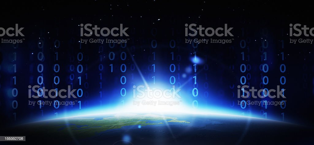 Earth and binary code royalty-free stock photo