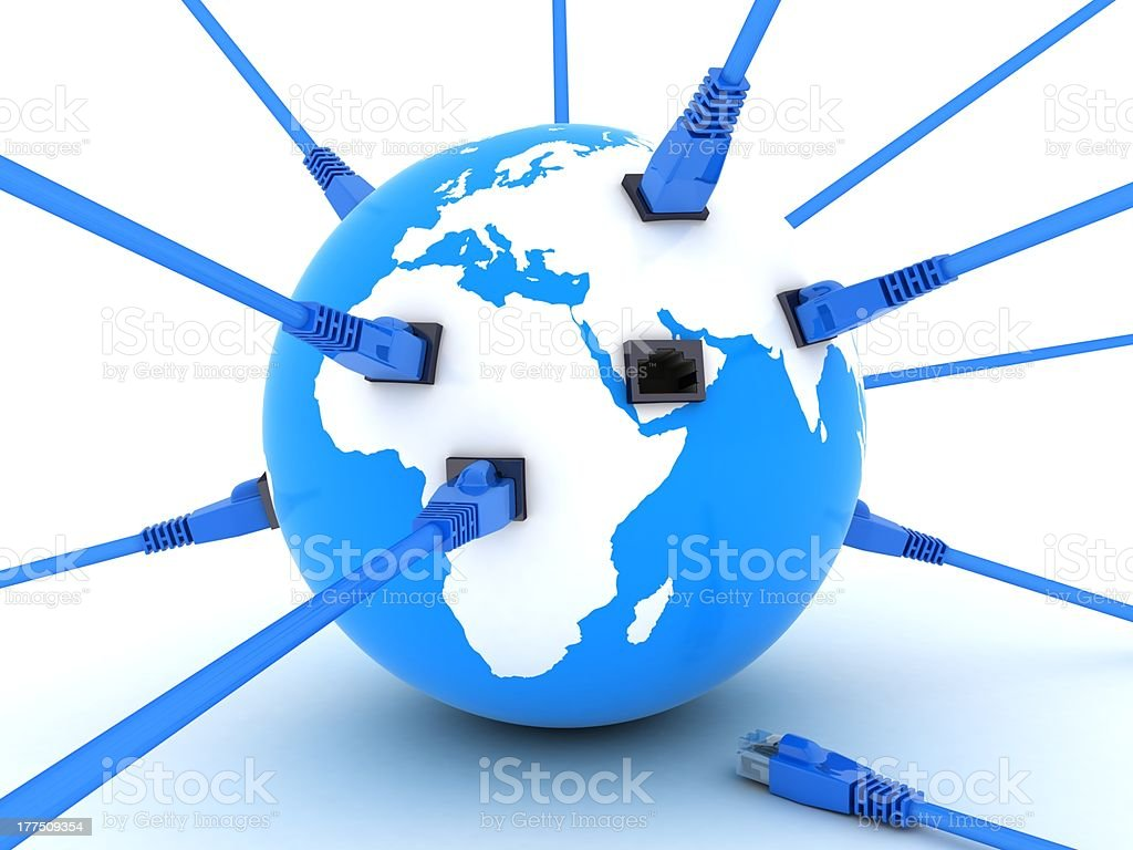 Earth and connect cable royalty-free stock photo