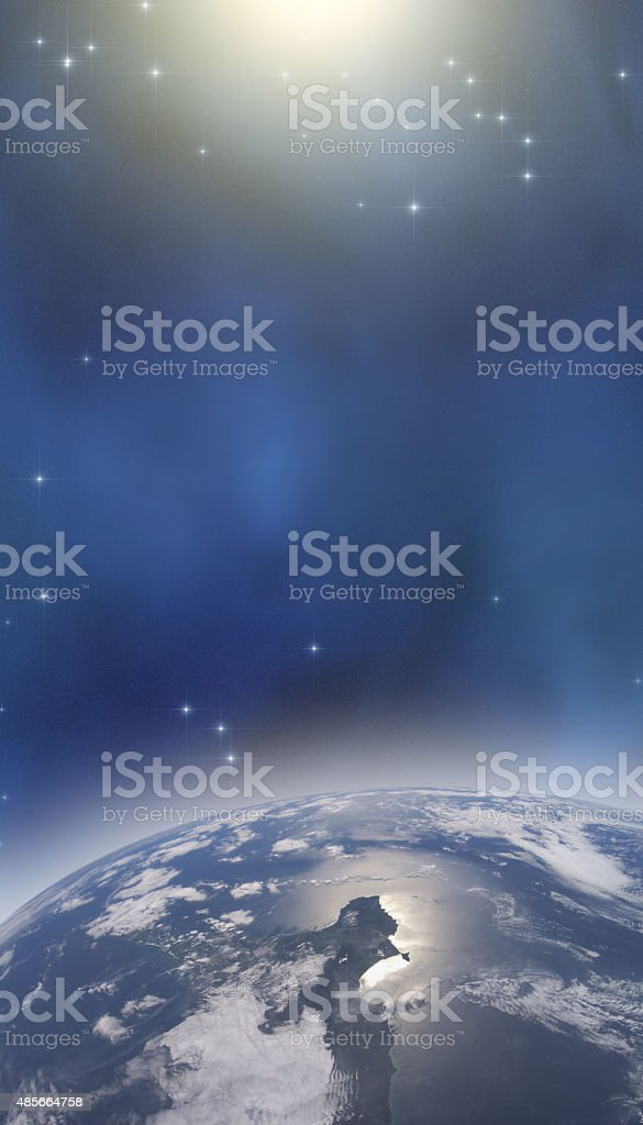Earth and deep universe - sunrise stock photo