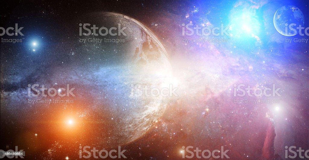 Earth and deep universe - sunrise stock photo