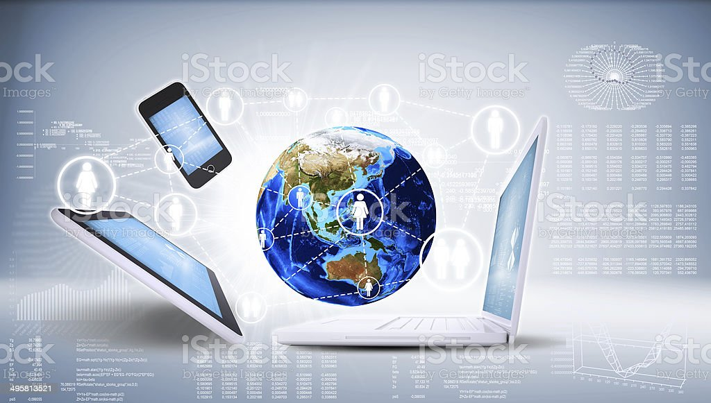 Earth and electronics stock photo