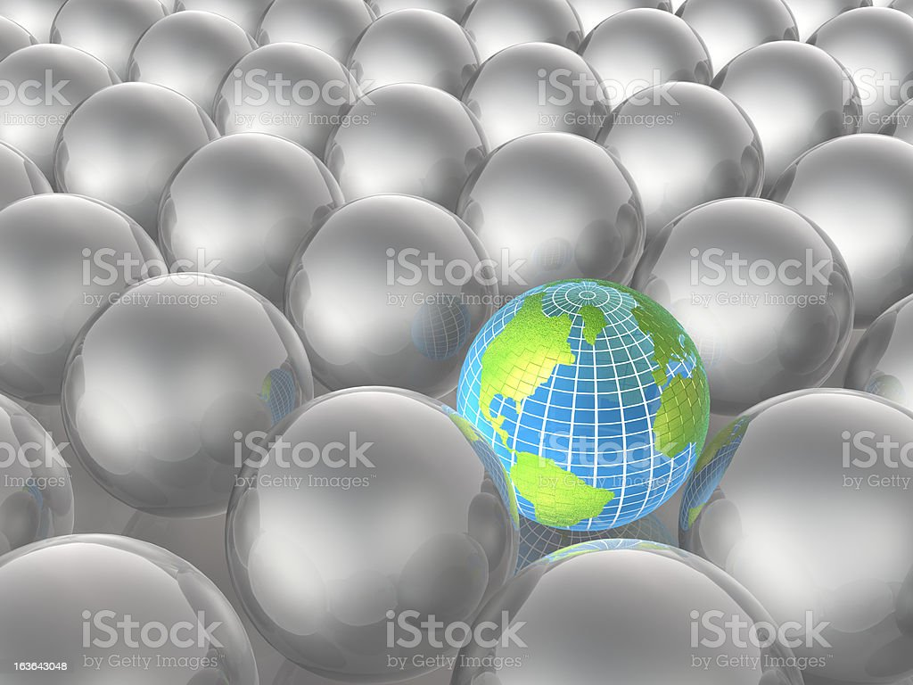 Earth and grey spheres royalty-free stock photo