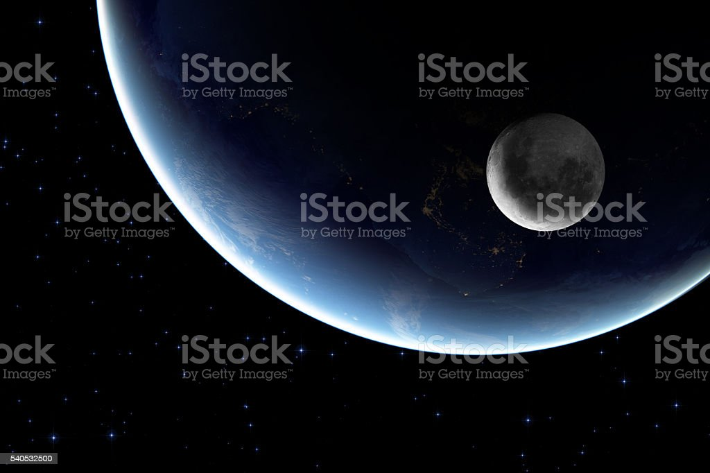 Earth and Moon at night stock photo
