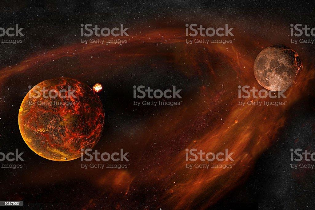 earth and moon creation stock photo