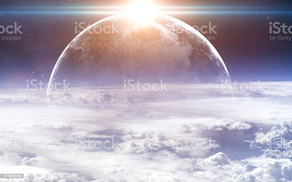 Earth and moon from space. Elements of this image furnished stock photo