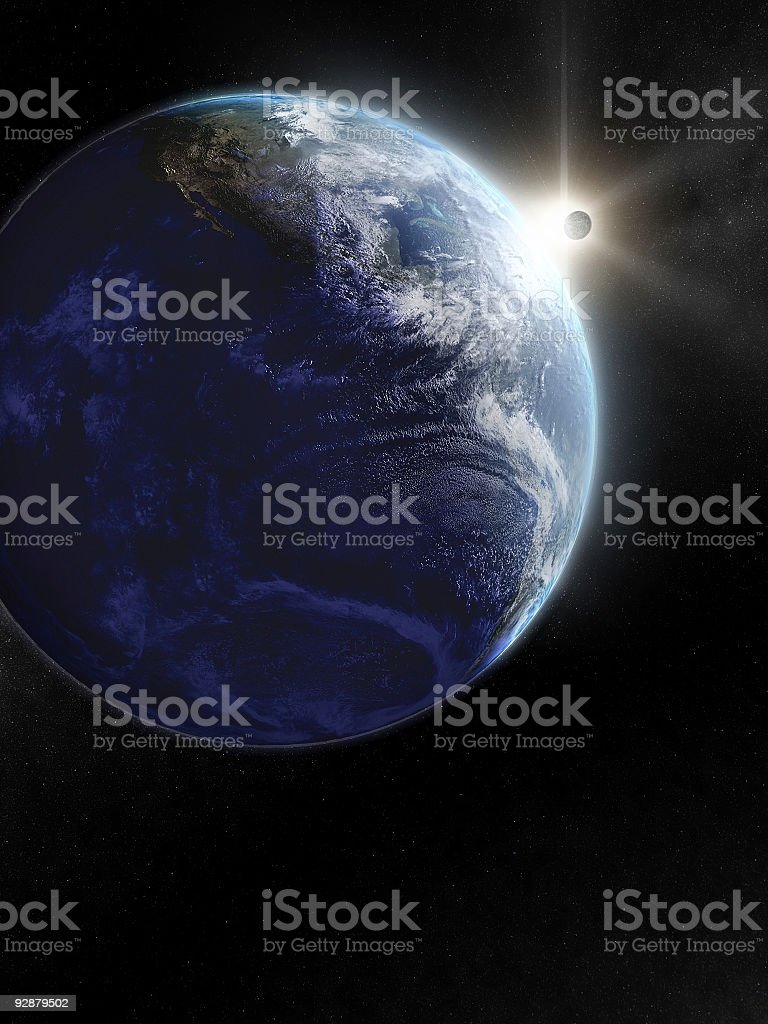 Earth and moon from space stock photo