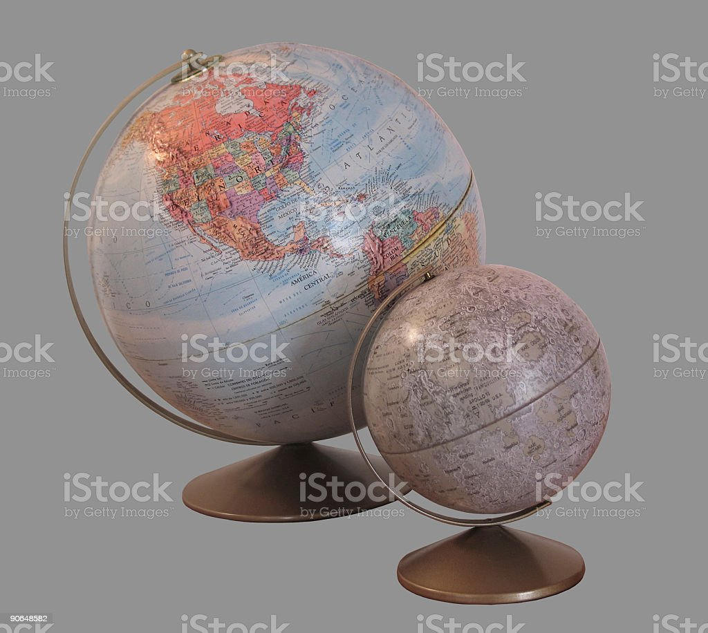Earth and Moon ( Clip Path ) royalty-free stock photo