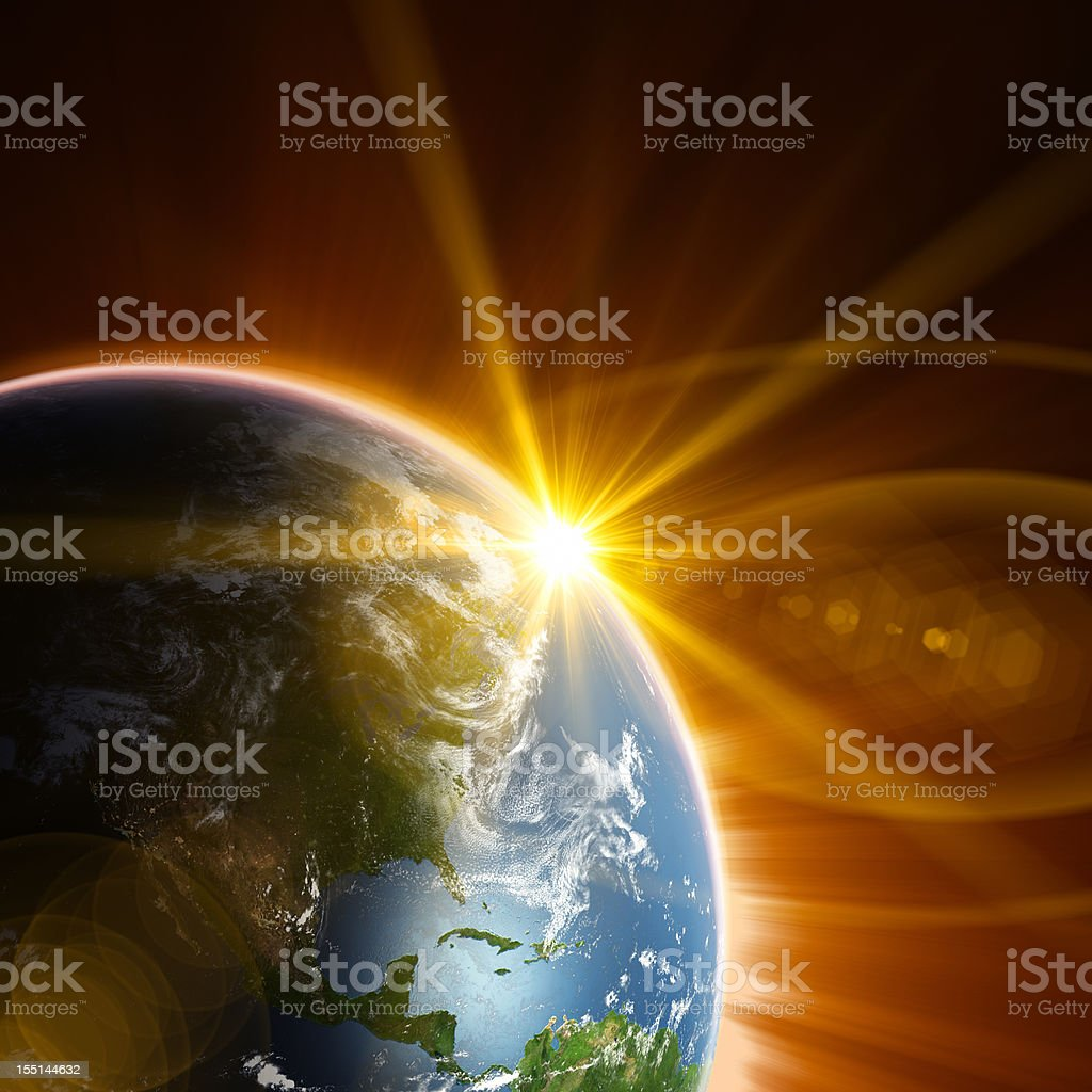 Earth and Rising Sun royalty-free stock photo