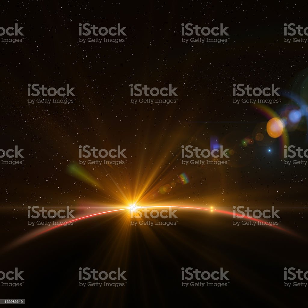 Earth and Rising Sun stock photo