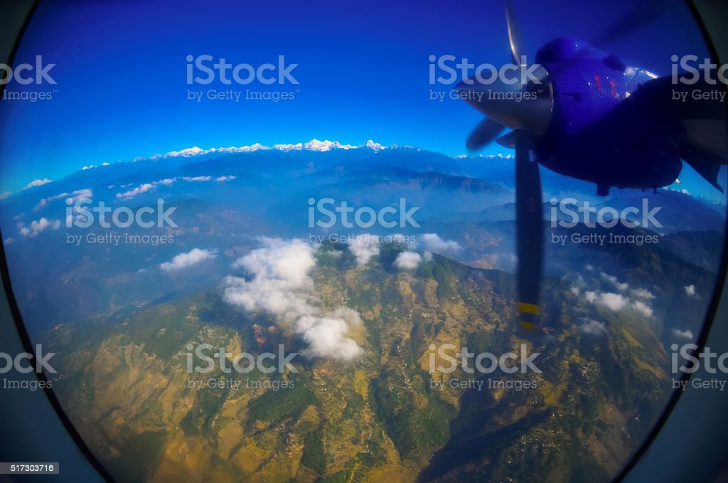 Earth and sky - view from an illuminator stock photo