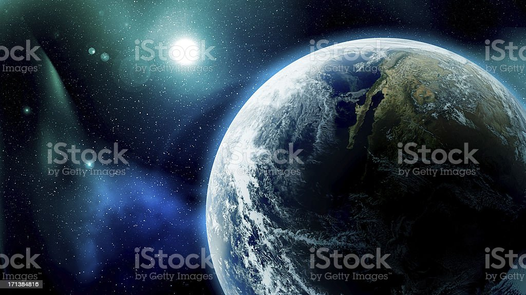 Earth and Stars in Space stock photo