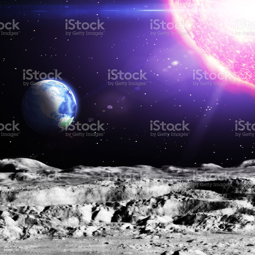 Earth and Sun Viewed from Imaginary Alien Planet or Meteor stock photo