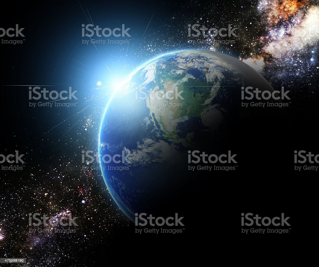 earth and sunbeam in galaxy space element finished by nasa stock photo