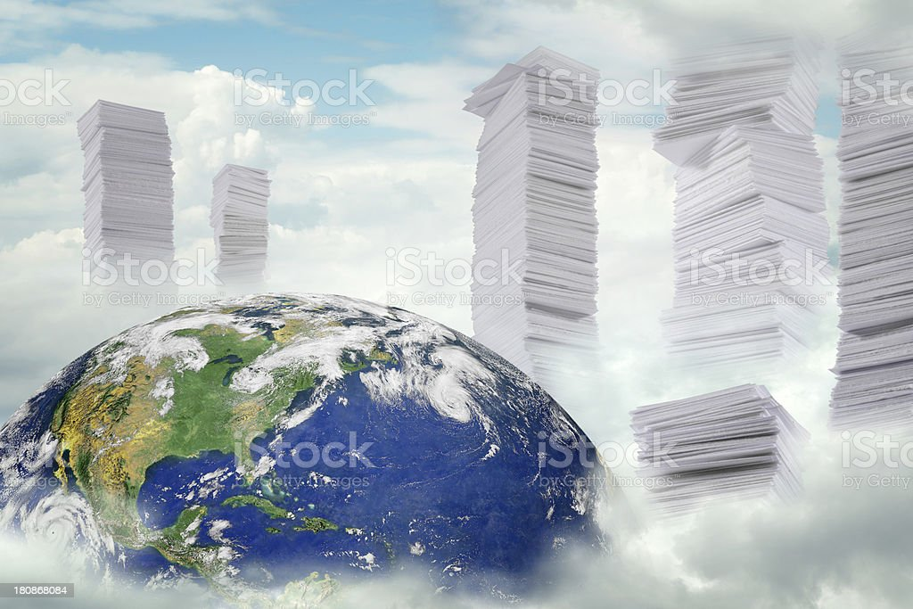 Earth and too much paper royalty-free stock photo