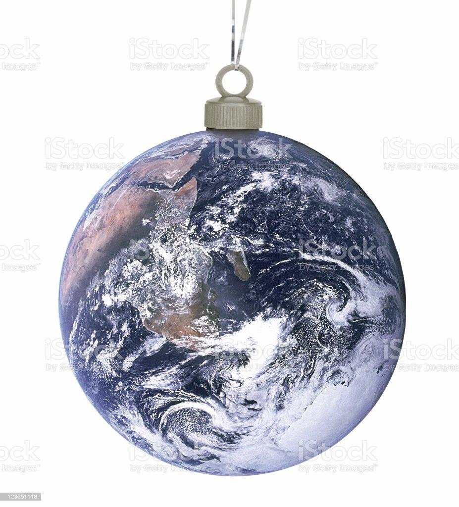 Earth as an christmas ball royalty-free stock photo