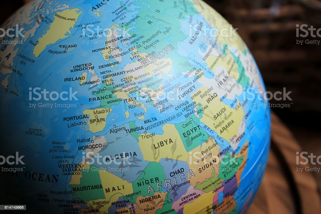 Earth ball, Europe and Africa map stock photo
