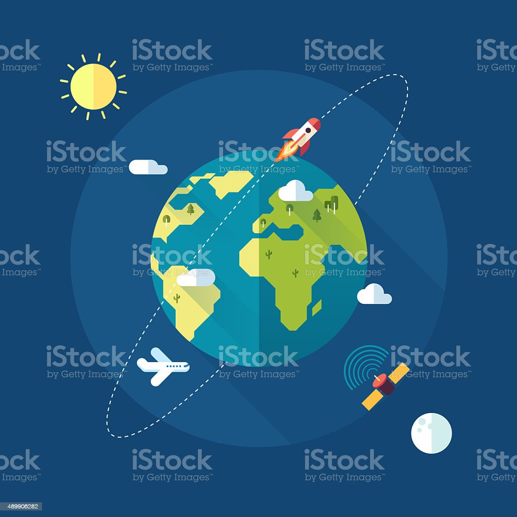 Earth banner with sun, moon, stars and space rocket stock photo