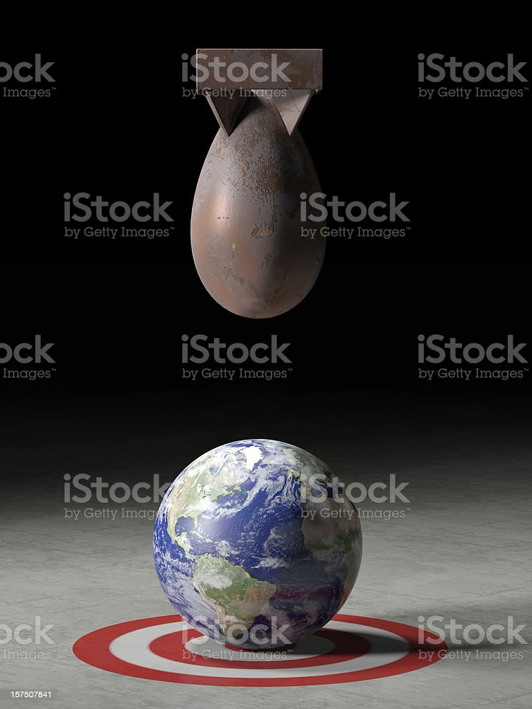 Earth being targeted by a missile stock photo