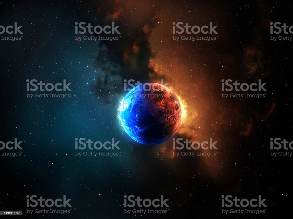 Earth between red and blue energy stock photo
