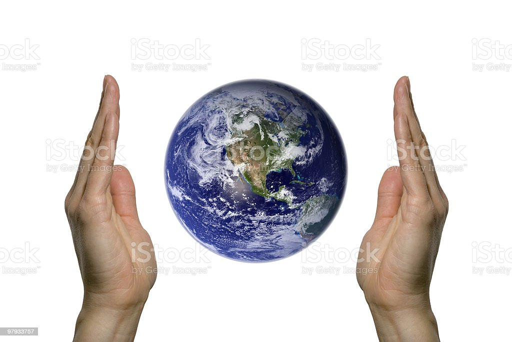 Earth between two hands 1 royalty-free stock photo