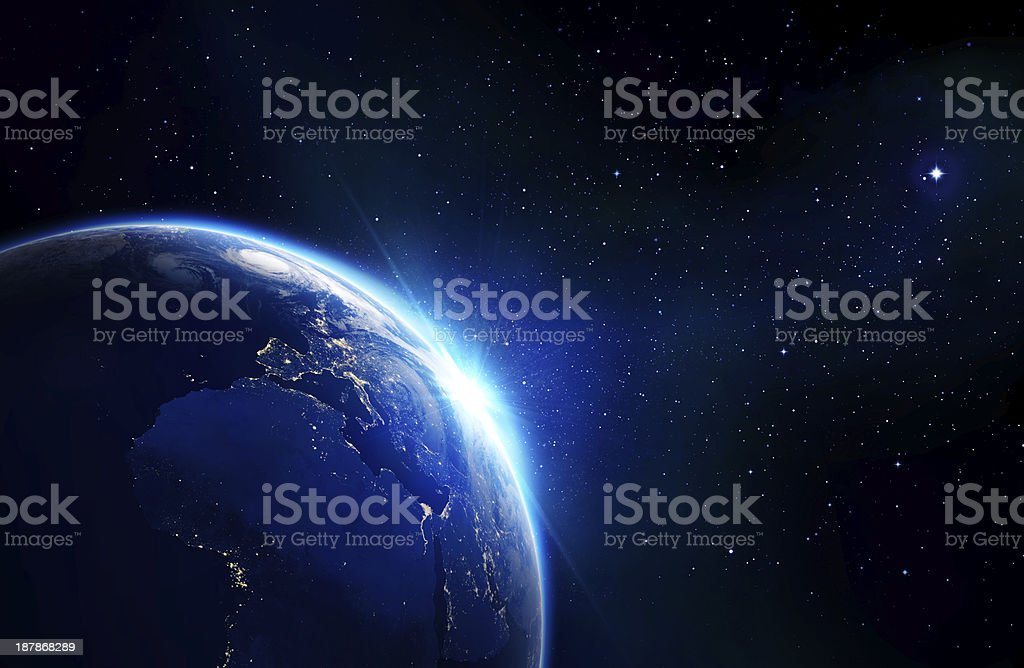 earth blue shining - sunrise stock photo