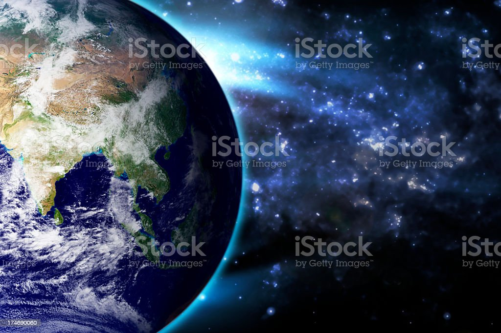 Earth Blue Stratosphere Asia India royalty-free stock photo
